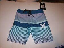 291b8063d6b65b NEW Hurley turquoise stripe board shorts boys youth swim trunks pick 8 10 16  20