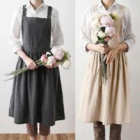 Women Bib Apron Pinafore Dress Home Cooking Cotton Linen Skater A Line Dress NEW