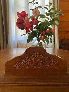 Vintage Retro 1970s Walnut Wooden Mantel Shelf w/ Floral Carving CUTE!