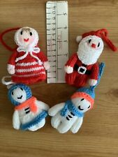 Hand Knitted Christmas Tree Decorations. Mr. @ Mrs Claus. Snowman Couple.