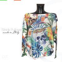 Strick Pullover *Made in Italy 'Skull' Muster Langarm Shirt Pulli Gr: 38-40-42