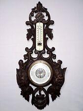 # grand baromètre thermomètre bois sculpté foret noire décor oiseaux chasse