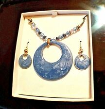 Blue Necklace & Hanging Earrings Set Silver Fashion Jewelry With Beaded Chaining