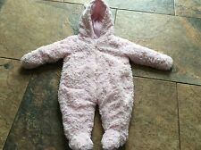 baby girls pink fleece snow suit all in one 0/3 months thick fleece   winter