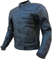 NUOVA giacca MOTO pelle LEATHER nero SHIELD tg.58/4XL jacket GIUBBOTTO traforato