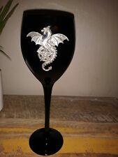 Glossy Black Glass Dragon Pentagram Wine Goblet Pagan