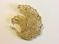 Beautiful Vintage Gold Tone Filigree Rhinestone Large Swan Bird Brooch