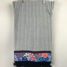 NWT MAAJI Navy Blue White Striped Floral Cotton Beach Blanket Fringe 55 x 34