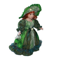 30cm Porcelain Doll Victorian Female Figures with Green Dress & Stand Gift