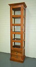 Reclaimed Teak Timber Glass Display Cabinet Book Shelf Storage Drawer Antique