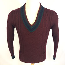 Vintage 90s 80s Polo Ralph Lauren Wool Blend Tennis Cable Knit Sweater Shirt M
