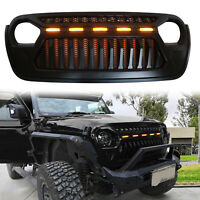 Front Bumper Grille Grill For 2018 2019  Wrangler JL With LED Amber Light