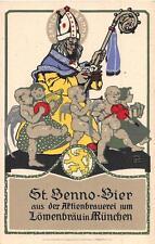 LOWENBRAU ST. BENNO BEER CHICAGO ILLINOIS A.H. MEYER GERMANY ART DECO POSTCARD