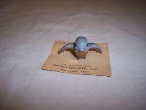 Retired Hagen Renaker Blue Tweetie Bird W/ Wings Spread Rose Breast - On Card
