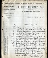 "MARSAC (23) PRODUITS REGIONAUX ""A. VIEILLERIBIERE Fils"" en 1907"