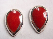 Red Coral Teardrop 925 Sterling Silver Stud Earrings Corona Sun Jewelry