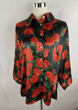 Ginger Tree Red Rose Floral 3/4 Sleeve Button Down Work Shirt Blouse Top Size 16