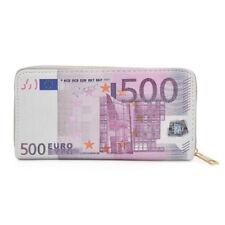 500 Euro Currency Money Bill Print PU Leather Zip Around Wallet