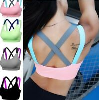 Fitness Yoga Push Up Sports Bra for Womens Gym Running Strappy Tank Top Athletic