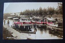 Montague BOAT DOCKS, Michigan vintage postcard RPPC, postmarked 1914, Lotus