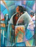 MARY MOREZ 1946-2004 NATIVE AMERICAN NAVAJO MODERN HAPPY SONG FOR BRIDE PORTRAIT