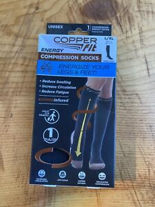 Copper Fit Energy Compression Socks L/XL 1 Pair New In The Box Black