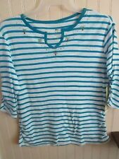 Cotton Blend Striped Petites Knit Tops for Women