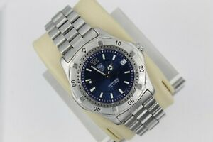 Tag Heuer Blue 2000 AUTOMATIC Professional WK2117 Watch Mens Silver Mint Crystal