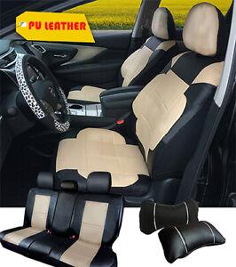 PU Leather Full Front Rear 5 Auto Seat Cushion Covers to Kia 255 Bk/Tan-F