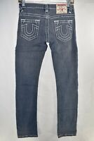 True Religion Joey Slim Straight Womens Jeans Size 26 Gray Meas. 26x31.5