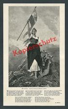 Tirolia Frau Patriotismus Fahne Wappen Doppeladler K.u.K. Österreich-Ungarn 1898