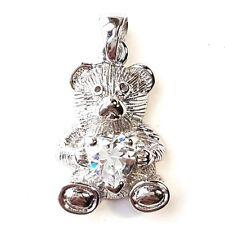 GUMMI BEAR / TEDDY BEAR PENDANT Charm w/ CZ Heart .925 STERLING SILVER