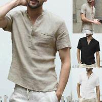 Summer Fall Men's Baggy Cotton Linen Soid Short Sleeve Retro T Shirt Tops Blouse