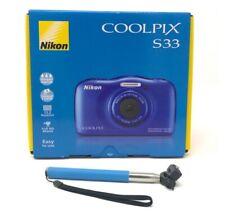 NIKON Coolpix S33 WATERPROOF Digital Camera 13MP + Selfie Stick BLUE *NEW*