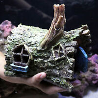 Resin Simulation Hollow Tree House Aquarium Fish  Landscape Decor DEL