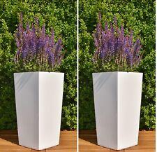 Blumentopf Set 2x M (H:36cm) weiß Quadratisch Pflanzeinsatz Hochglanz Pflanztopf