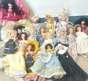 Lot Of 20 Vintage/Antique Handpainted Porcelain & Wood Dolls Girls New EUC GUC