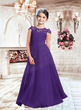New Lace Princess Flower Girl Dress Wedding Junior Bridesmaid Dresses 2-16 Years