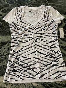 NWT Nollie  women's short sleeve v neck t-shirt balck white size junior M