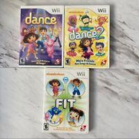 Wii Bundle of Nickelodeon Dance, Dance 2 and Fit Kids Video Games Dora Diego