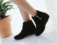 Womens  summer round toe flat heel ankle boots faux suede wedges zippers