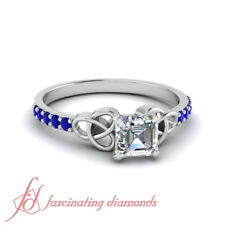 Asscher Cut Diamond And Sapphire Delicate Engagement Ring In Platinum 0.65 Ctw