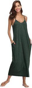 Women Cotton V Neck Long Nightgown Sleeveless Full Slip Night Dress Olive Green