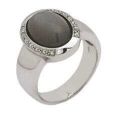14K White Gold Diamond Moonstone Mens Ring   Size 10.25  10.9 Grams