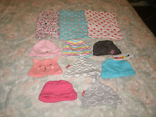 Infant girls 8 pc. hat lot & 3 fancy cloth diapers