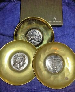3 LALAOUNIS SILVER STERLING  MEDALLION / COIN AND BRASS PLATE DISH W BOX