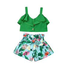 Toddler Kids Baby Girls Crop Tops+Floral Shorts Pants Outfits Set Summer Clothes