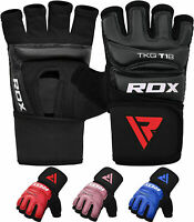 RDX Leather Grappling Gloves TKD Training MMA Semi Contact Muay Thai Boxing