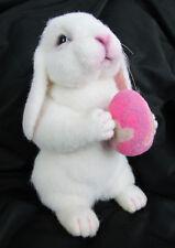 """Artist Original 2014 OOAK Needle Felted Wool 8"""" White Lop-Ear Bunny Rabbit w/Egg"""