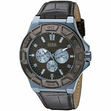 Guess Men's Brown Leather Strap Watch 45mm U0674G5